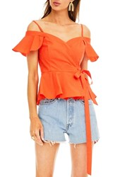 Astr The Label Carly Top Red Orange