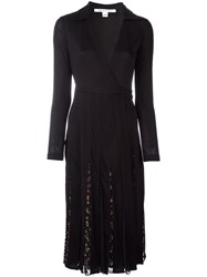 Diane Von Furstenberg Floral Pleat Wrap Dress Black