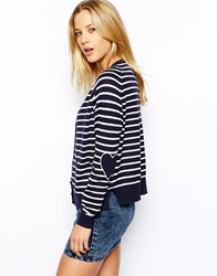 Asos Cardigan In Stripe With Heart Elbow Patch Navy