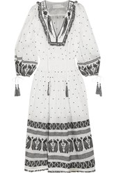 Zimmermann Divinity Tassel Trimmed Embroidered Linen Midi Dress White