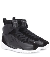 Tod's Leather High Top Sneakers Black