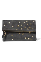 Clare V. V Margot Metallic Printed Suede Clutch Anthracite