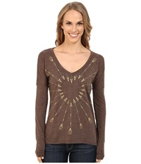 Roper 9917 Light Weight Heather Jersey V Neck Tee Brown Women's T Shirt