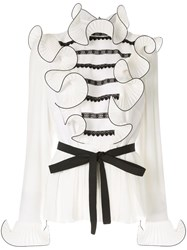 Andrew Gn Lace Inserts Ruffle Peplum Top White