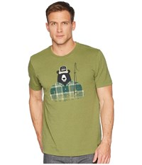 Life Is Good Fishing Bear Crusher Tee Heather Tree Green T Shirt Olive