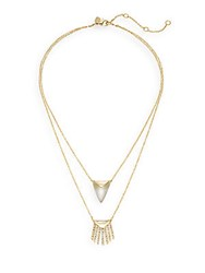 Alexis Bittar Lucite Fringe Two Pendant Necklace Gold Silver