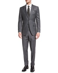 Tom Ford O'connor Base Irregular Canvas Two Piece Suit Gray