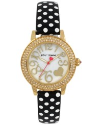Betsey Johnson Women's Black And White Polka Dot Leather Strap Watch 33Mm Bj00251 10 Gold