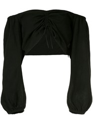 Suboo Ruched Front Cropped Top Black