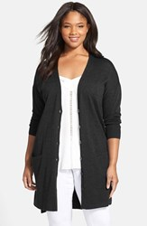 Plus Size Women's Sejour 'Core' Wool Blend V Neck Cardigan Black