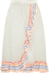 Lemlem Afia Ruffled Striped Cotton Blend Gauze Skirt Sky Blue