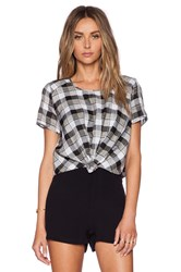 Harlyn Front Knot Crop Top Black And White