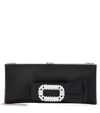 Roger Vivier Pilgrim Small Jewel Satin Clutch Black