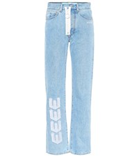 Off White Embroidered Straight Leg Jeans Blue