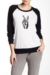 Nation Ltd. Colorblock Raglan Peace Sign Pullover Black