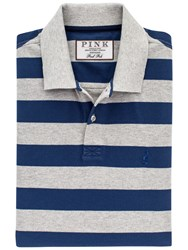 Thomas Pink Harmer Stripe Polo Shirt Grey Navy