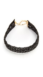 Vanessa Mooney Leather Lace Choker Necklace Black