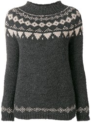 Woolrich Long Sleeve Fitted Sweater Grey