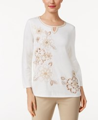 Alfred Dunner Beaded Embroidered Sweater Ivory