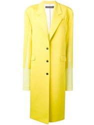 Y Project Contrast Single Breasted Coat Yellow