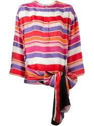 Gianfranco Ferre Vintage Bow Detail Striped Blouse Multicolour