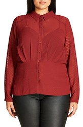 City Chic Plus Size Women's Snakeskin Textured Chiffon Shirt Ruby