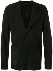 Salvatore Santoro V Neck Suede Jacket Black