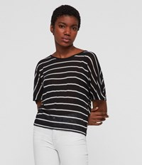 Allsaints Nimala Stripe Reversible T Shirt Black Chalk White