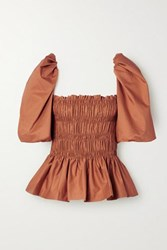 Johanna Ortiz Artistic Senses Smocked Stretch Cotton Poplin Peplum Top Tan