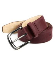 Saks Fifth Avenue Textured Micro Carbon Belt Dark Red Navy