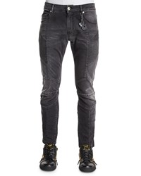 Balmain Faded Slim Fit Moto Denim Jeans Black