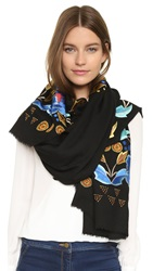 Temperley London Flutura Embroidered Shawl Black