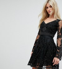 A Star Is Born Embellished Mini Skater Dress With Fluted Sleeve Black