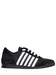 Dsquared New Runner Nylon And Suede Sneakers Black White