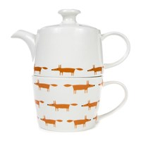 Scion Mr Fox Tea For One Tea Pot Ceramic Orange
