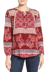 Lucky Brand Women's Mixed Print Top Red Multi