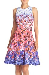 Women's Maggy London Floral Print Sateen Fit And Flare Dress Blue Pink Multi