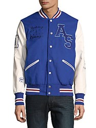 American Stitch Stripe Varsity Jacket Blue