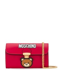 Moschino Teddy Pocket Leather Clutch Red