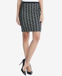 Karen Kane Jacquard Pencil Skirt Black White