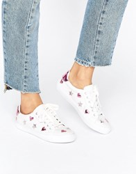 Asos Dea Star Lace Up Trainers White Metallic