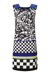 James Lakeland Neck Zip Print Dress Blue