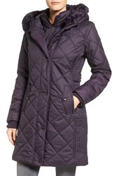Larry Levine Women's Faux Fur Trim Long Quilted Coat With Inset Bib Plum