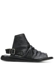 Moma Ruched Flat Sandals Black
