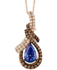 Le Vian Blueberry Tanzanite 1 1 5 Ct. T.W. And Diamond 9 10 Ct. T.W. Pendant Necklace In 14K Rose Gold