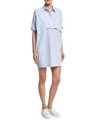 Opening Ceremony Short Sleeve Striped Poplin Shirtdress Light Blue