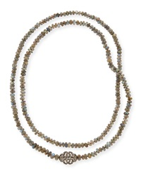 Labradorite And Diamond Station Long Necklace 45' Siena Jewelry