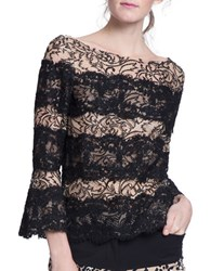 Tracy Reese Boatneck Poet Sleeve Lace Overlay Top Black