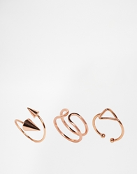 Asos Limited Edition Shapes Spike Mid Ring Pack Rosegold