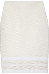 Jonathan Simkhai Embroidered Stretch Mesh Pencil Skirt White